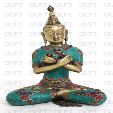Vintage Decorative Beautiful Multi-color Solid Brass Statue